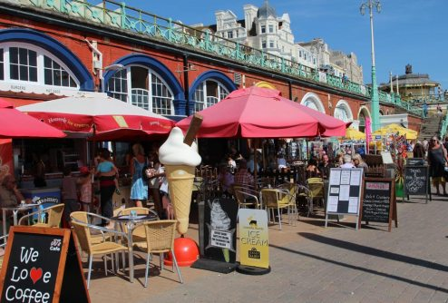 Beach cafes, Lower Promenade, King's Road Arches, Brighton