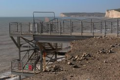 Aftermath of storms 2014, beach staircase closed, Birling Gap