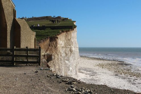 Aftermath of storms 2014, former coastguard cottage, cliff edge, Birling Gap