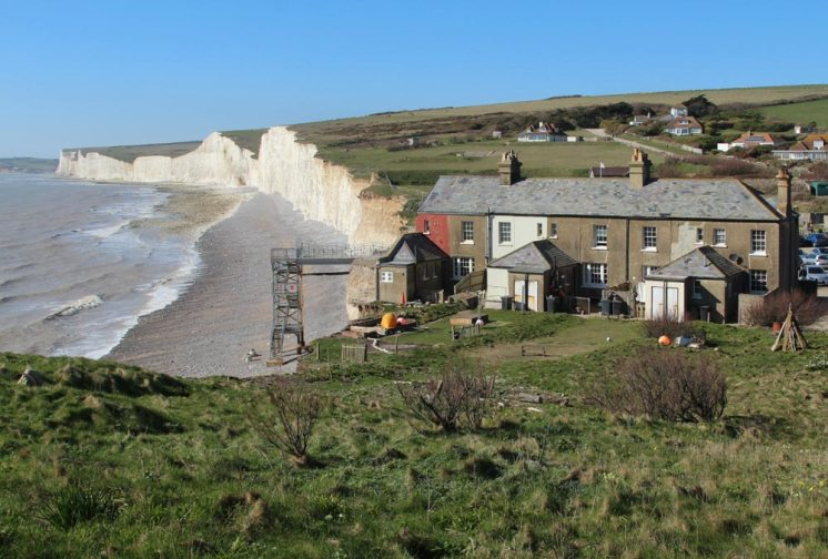 Aftermath of storms 2014, former coastguard cottages and Seven Sisters, Birling Gap