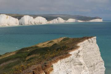 Seven Sisters and Belle Tout, from Seaford Head cliffs