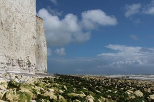 Chalk cliffs and seaweed covered chalk boulders, East of Birling Gap
