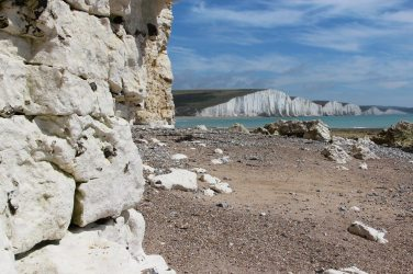 Chalk cliffs and Seven Sisters, beach, Hope Gap