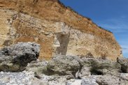 Chalk cliffs with thick layer of loess and Cable House, Cuckmere Haven