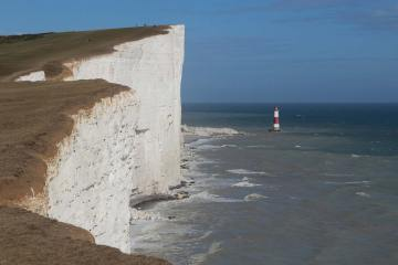 Chalk cliffs and Beachy Head Lighthouse