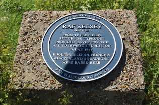 Plaque, marking the site of World War II airfield, RAF Selsey, Church Norton