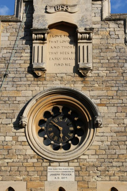 Clock in remembrance of Joseph Tucker, The Old School, Pavenham
