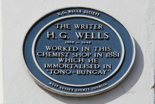 Plaque, H.G. Wells, on wall of dentist, formerly Chemist Shop in 188l, Midhurst