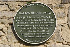 Plaque, Barton Grange Farm, Bradford on Avon