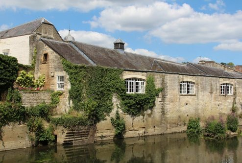 Riverside buildings, from Westbury Gardens, Bradford on Avon