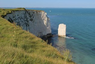 Chalk Sea Stack and Headland, Old Harry Rocks, Studland