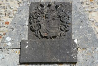 Coat of Arms and inscription, Francis Douce Mausoleum, St. Andrew's Churchyard, Nether Wallop