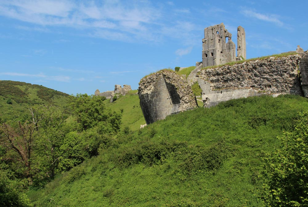 Corfe Castle, from National Trust Tea Rooms