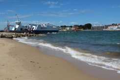 Sandbanks Ferry, entrance to Poole Harbour, Shell Bay, Studland