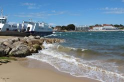 Sandbanks Ferry, entrance to Poole Harbour, Shell Bay, Studland