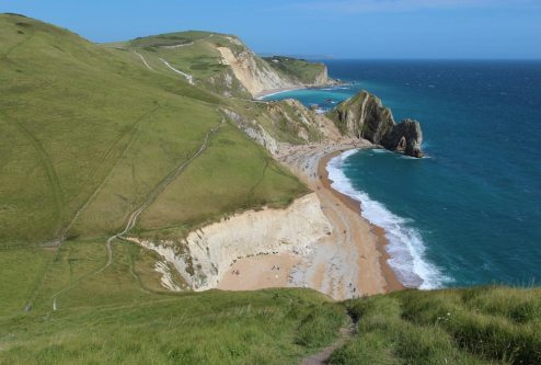 South West Coast Path, towards Durdle Door and Lulworth Cove, from Swyre Head
