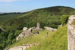 West Bailey and West Hill, from the Garderobe, Corfe Castle