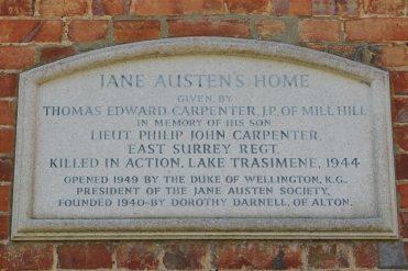 Plaque to Lt. Philip J. Carpenter, Jane Austen's House Museum, Chawton
