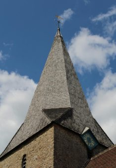Timber spire, St. Nicholas Church, Compton