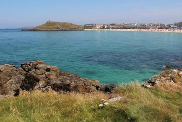 Porthmeor Beach and The Island, from footpath to Carrick Du, St. Ives