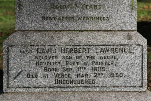 The Lawrence Family Grave, D.H. Lawrence inscription, Eastwood Cemetery, Eastwood
