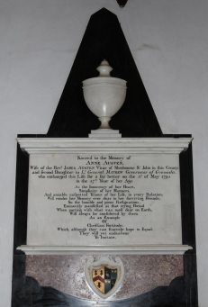 Memorial to Anne Austen, first wife of James Austen, St. Nicholas Church, Steventon