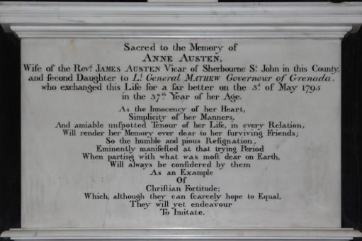 Memorial to Anne Austen, first wife of James Austen, St. Nicholas Church, Steventon