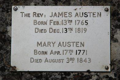 Plaque on James Austen's grave, St. Nicholas Churchyard, Steventon