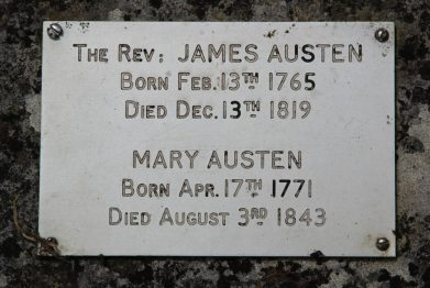 Plaque on James Austen's grave, St. Nicholas Churchyard, Steventon