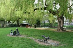Alice, her sister and the White Rabbit, on the riverbank, River Wey, Guildford
