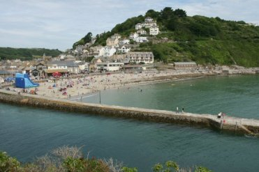 Banjo Pier and East Looe, from Hannafore Road, Looe