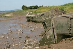 Boat Graveyard, Purton, River Severn. Final resting place for boats to protect Gloucester and Sharpness Canal