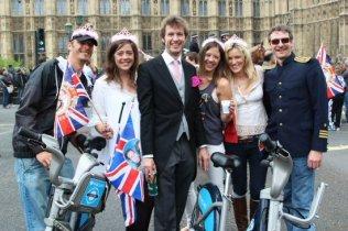 Boris's cyclists. Royal Wedding, Prince William and Kate, 29th April 2011