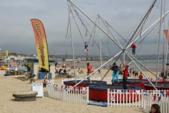 Bungee Trampolines, beach, Weymouth