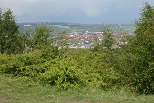Burslem, from viewpoint of reclaimed coal slag heap, Central Forest Park, Hanley, Stoke-on-Trent