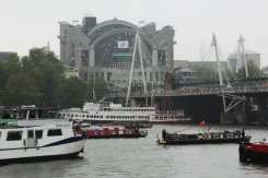 Charing Cross Station and Hungerford Bridge, Queen's Diamond Jubilee, Thames Pageant