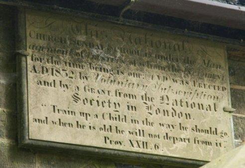 Church Sunday School sign on Church School, where Charlotte Brontë taught, Haworth