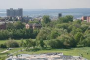 City centre, from viewpoint of reclaimed coal slag heap, Central Forest Park, Hanley, Stoke-on-Trent