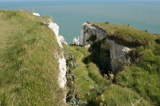 Cliff erosion, Langdon Cliffs, White Cliffs of Dover