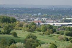 Festival Park, from viewpoint of reclaimed coal slag heap, Central Forest Park, Hanley, Stoke-on-Trent