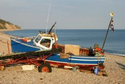 Fishing boat, beach, Seaton