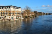 Flooded River Thames, from Staines Bridge, Staines-upon-Thames. Floods February 2014