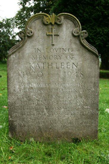 Grave of Kathleen Cavendish, sister of President J.F. Kennedy, St. Peter's Churchyard, Edensor
