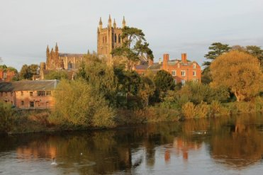 Hereford Cathedral, Bishop's Palace and River Wye, Hereford