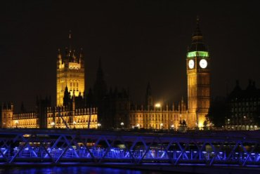 Houses of Parliament and Big Ben, evening of Royal Wedding. Prince William and Kate, 29th April 2011