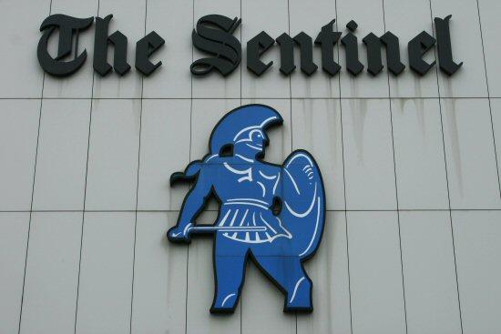 Logo, Sentinel newspaper offices, Etruria, Stoke-on-Trent