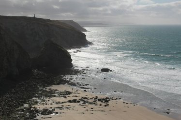 Looking towards Portreath, from cliff path, Porthtowan