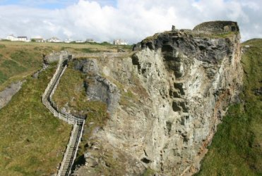 Lower and Upper Wards and steps to the bridge, connecting to The Island, Tintagel Castle, Tintagel