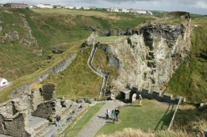 Lower Ward, Upper Ward and Inner Ward, from the summit of The Island, Tintagel Castle, Tintagel
