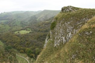 Manifold Valley, route of the Leek and Manifold Valley Light Railway, from above Thor's Cave, Peak District